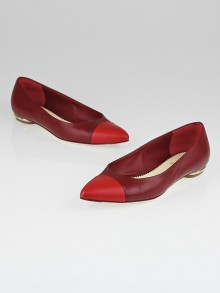 Chanel Red Leather Pointed Toe Ballet Flats Size 6/36.5