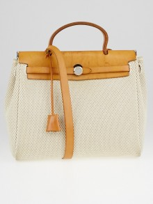 Hermes 30cm Beige Canvas and Vache Calfskin Leather 2-in-1 Herbag PM Bag