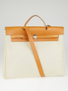 Hermes 40cm Natural/Brown Toile and Leather 2-in-1 Herbag GM Bag