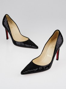 Christian Louboutin Black Sequin Pointed Toe Pumps Size 9/39.5
