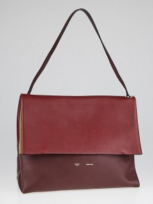 Celine Burgundy/Grey Calfskin Leather and Suede All Soft Shoulder Bag