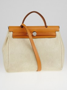 Hermes 30cm Natural Toile Canvas and Vache Calfskin Leather 2-in-1 Herbag PM Bag