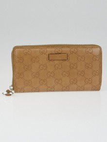 Gucci Beige Guccissima Leather Horsebit Zippy Wallet