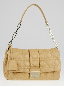 Christian Dior Beige Cannage Quilted Lambskin Leather New Lock Flap Bag
