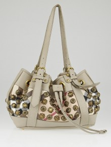 Burberry Taupe Leather Supernova Check Coated Canvas Gold Studs Bag