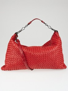 Bottega Veneta Red Intrecciato Woven Nappa Torchon Leather and Alligator Oversized Hobo Bag