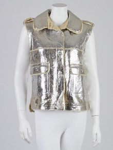Chanel Metallic Silver Lambskin Leather and Shearling Vest Size 8/40