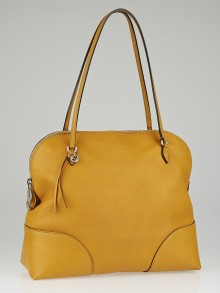 Gucci Yellow Pebbled Leather Bree Shoulder Bag