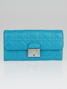 Christian Dior Turquoise Cannage Quilted Lambskin Leather Miss Dior Wallet