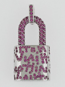 Louis Vuitton 18k White Gold and Pink Sapphire Stephen Sprouse Graffiti Padlock Pendant