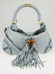 Gucci Blue Guccissima Leather Medium Babouska Indy Top Handle Bag