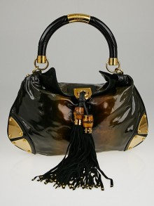 Gucci Black Ombre Glitter Patent Leather Medium Babouska Indy Top Handle Bag