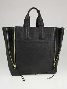 3.1 Phillip Lim Black Shark Embossed Leather Pashli Large Tote Bag