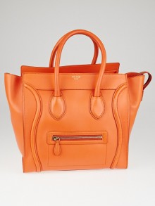 Celine Orange Smooth Calfskin Leather Mini Luggage Tote Bag