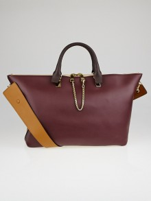 Chloe Teak Brown/Wild Purple Leather Two-Tone Large Baylee Tote Bag