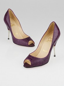 Christian Louboutin Purple Ostrich Leg Leather Yotruche 100 Peep-Toe Pumps Size 5.5/36