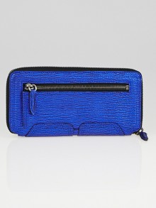 3.1 Phillip Lim Electric Blue Shark Embossed Leather Pashli Zip Around Wallet