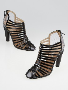 Chanel Black Patent Leather and Clear Vinyl Cage Booties Size 9.5/40