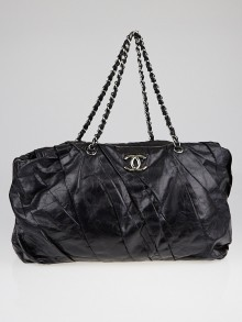 Chanel Black Glazed Leather Twisted Large East/West Tote Bag