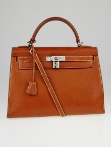 Hermes 32cm Natural Peau Porc Leather Gold Plated Kelly Sellier Bag