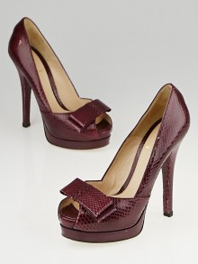 Fendi Purple Snakeskin Bow Platform Pumps Size 5.5/36