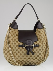 Gucci Beige/Ebony GG Canvas Emily Original Chain Hobo Bag