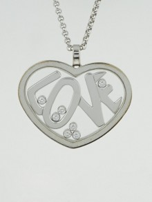 Chopard 18k White Gold and Diamonds Happy Diamonds Love Heart Pendant