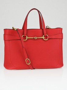 Gucci Red Pebbled Leather Soft Bright Bit Medium Top Handle Tote Bag