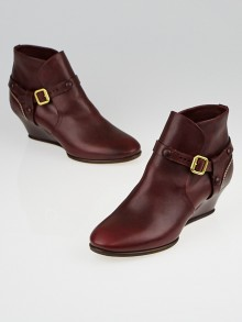 Chloe Burgundy Leather Low Ankle Boot Wedges Size 5.5/36
