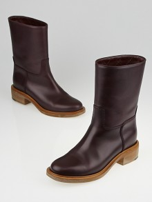 Chanel Burgundy Leather Motorcycle Boots Size 6/36.5