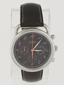 Hermes 43mm Stainless Steel and Ebene Barenia Leather Arceau TGM Automatic Chronograph Watch