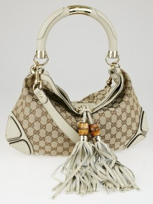 Gucci Beige/Ivory GG Canvas Medium Babouska Indy Top Handle Bag