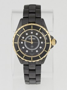 Chanel Black J12 Ceramic and Diamonds 33mm Quartz Watch