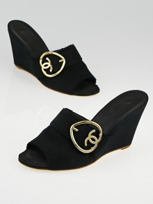 Chanel Black Canvas Slide Mule Wedges Size 9/39.5