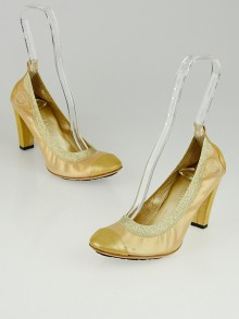Chanel Gold Iridescent Leather Elastic Ballet Pumps Size 8.5/39