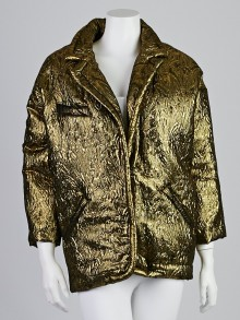 Isabel Marant Gold Metallic Brocade Wool/Silk Blend Oversized Blazer Size 0