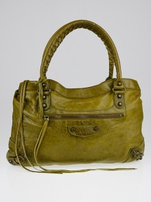 Balenciaga Olive Chevre Leather Purse Bag