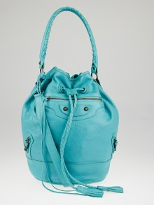 Balenciaga Bleu Tropical Lambskin Leather Carly Bag