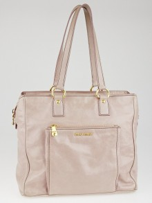 Miu Miu Pink Vitello Shine Tote Bag