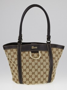 Gucci Beige/Ebony GG Canvas D-Ring Gold Small Tote Bag