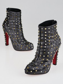 Christian Louboutin Anthracite Leather Ariella Clou Studded Ankle Boots Size 7.5/38