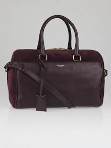 Yves Saint Laurent Bordeaux Suede/Calfskin Leather Classic Duffle 6 Bag