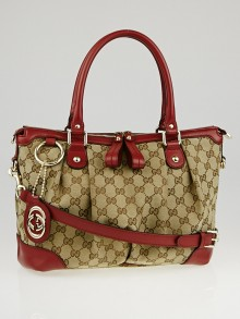 Gucci Beige/Red GG Canvas Sukey Top Handle Bag