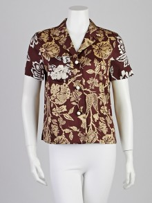 Isabel Marant Brown Hawaiian Print Silk Mick Shirt 8/40