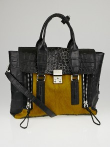 3.1 Phillip Lim Olive Calf Hair and Grey Croc Embossed Leather Medium Pashli Satchel Bag