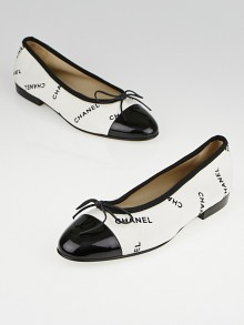 Chanel White Canvas and Black Cap Toe Ballet Flats Size 7/37.5