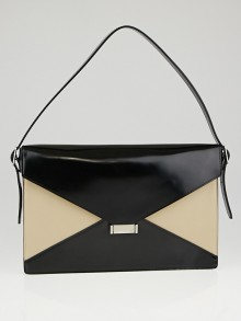 Celine Black/Khaki Patent Leather Medium Diamond Clutch Bag