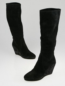 Prada Black Suede Knee High Wedge Boots Size 9/39.5