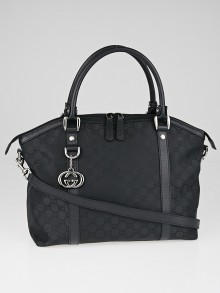 Gucci Black GG Canvas GG Charm Medium Top Handle Bag