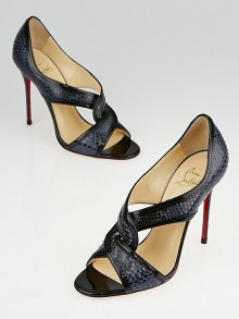 Christian Louboutin Black/Blue Python Suzanana 100 Sandals Size 6/36.5